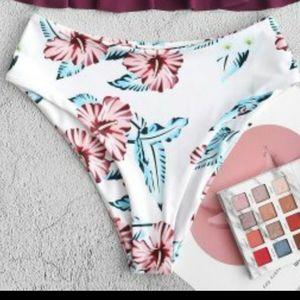 zaful high rise flower bikini bottoms